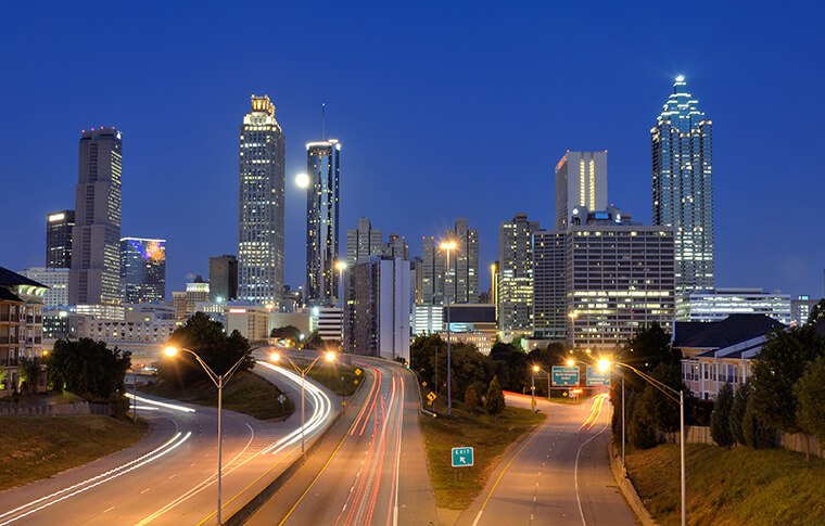 Atlanta city skyline at night