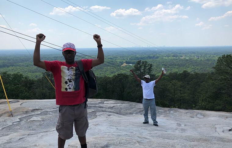 Men at the top of Stone Mountain