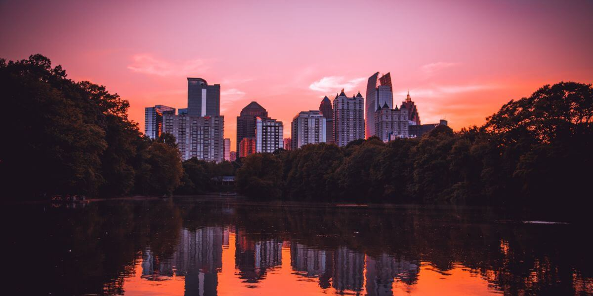 Pink sunset over Atlanta skyline